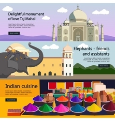Travel to India banner set Indian culture vector image vector image