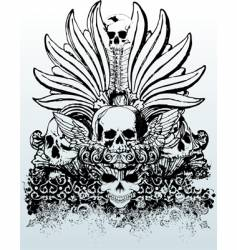 tribal skull grunge illustration vector image