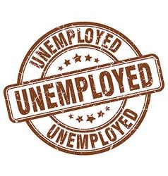 Unemployed brown grunge round vintage rubber stamp vector