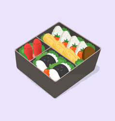 Ute bento japanese lunch box funny cartoon food vector