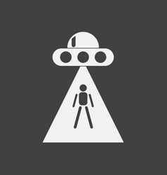 White icon on black background flying saucer and vector