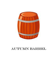 Wooden barrel autumn time vector