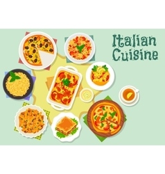 Italian cuisine pizza and pasta dishes icon vector