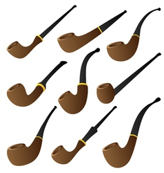 Tobacco pipe set vector
