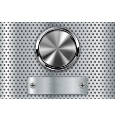 Metal button with steel plate vector