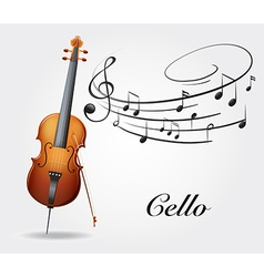 Cello and music notes vector