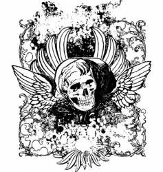 evil angel grunge skull illustration vector image