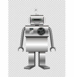 Robot made of steel on transparent background vector