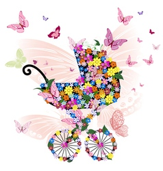 Stroller of flowers and butterflies vector