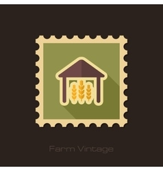 Barn retro flat stamp with long shadow vector