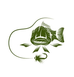 Funny trout and lure design template vector