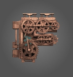 F rusted letter with gears vector