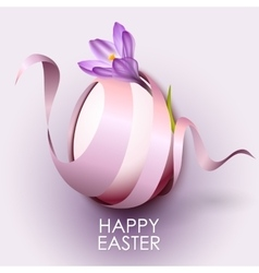 Happy easter greeting card template with flower vector