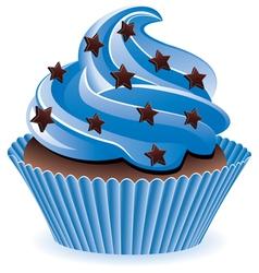 blue cupcake vector image