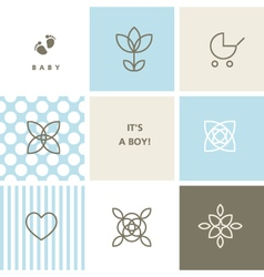 Baby shower design elements for baby shower vector