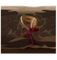 Old barrel of wine under ground vector