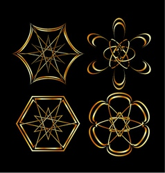 A set of celtic floral decoration or tattoo art vector