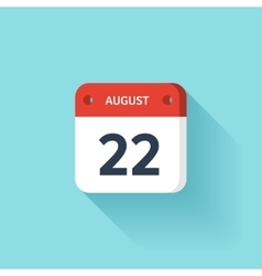 August 22 Isometric Calendar Icon With Shadow vector image vector image