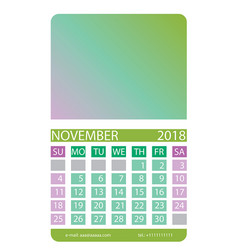 calendar grid november vector image vector image