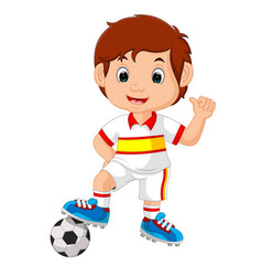 cartoon child playing football vector image
