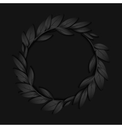 Circular frame of black paper branches and leaves vector