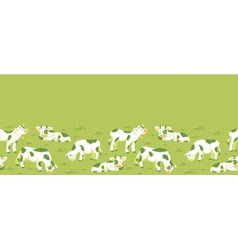 Cows on the field horizontal seamless pattern vector