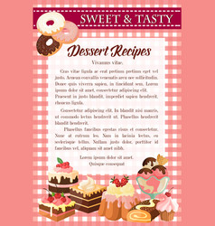 dessert recipe poster template with cake donut vector image vector image