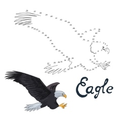 Educational game connect dots to draw eagle bird vector