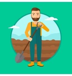 Farmer on the field with shovel vector
