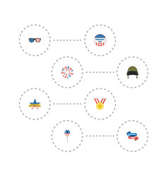 Flat icons medallion soldier helmet firecracker vector
