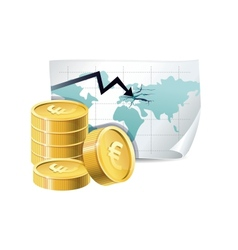 golden coins and map with cracks vector image