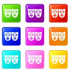 Happy and sad mask set 9 vector