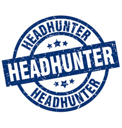 Headhunter blue round grunge stamp vector