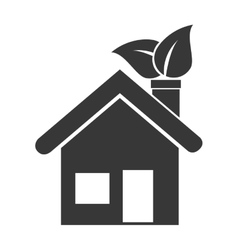 house leaves ecology icon graphic vector image