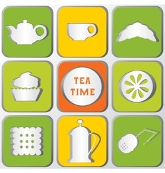 Icons tea time set of 9 icons shadows effect vector
