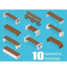 Isometric benches set vector