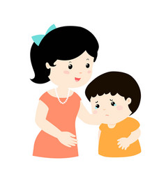 mother soothes crying son vector image vector image