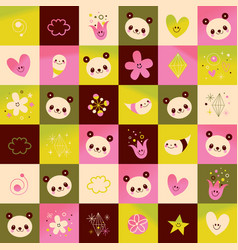 panda bears hearts flowers nature pattern vector image vector image