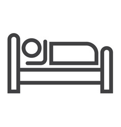 person in bed and hotel line icon vector image vector image