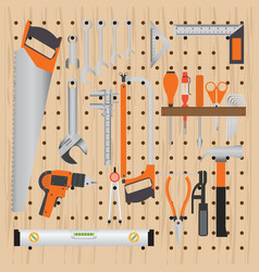 Repair and construction working tools on peg vector