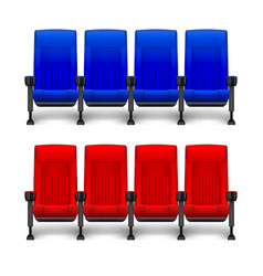 set of realistic comfortable movie chairs for vector image vector image