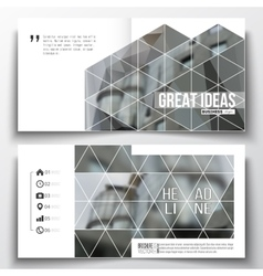 Set of square design brochure template polygonal vector