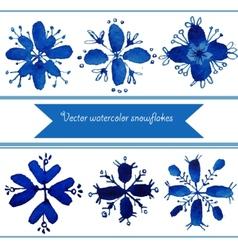 Set of watercolor snowflakes vector
