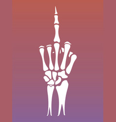 skeleton hand sign with middle finger vector image vector image