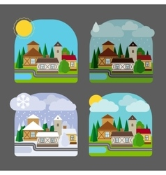Small town landscape in flat style vector