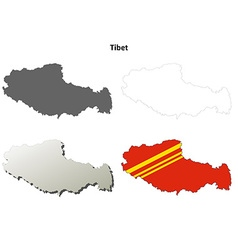 Tibet outline map set - chinese version vector