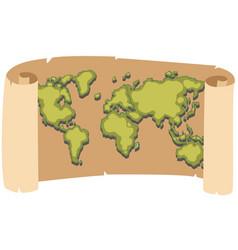 Worldmap on brown paper vector