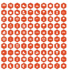 100 country house icons hexagon orange vector