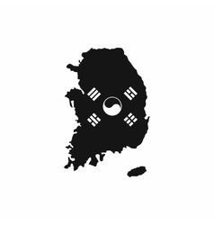 South Korea map with flag icon simple style vector image