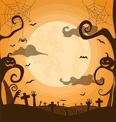 Halloween night background in graveyard vector